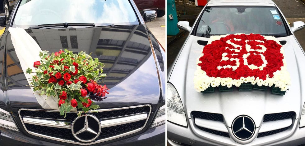 wedding car flower arrangements