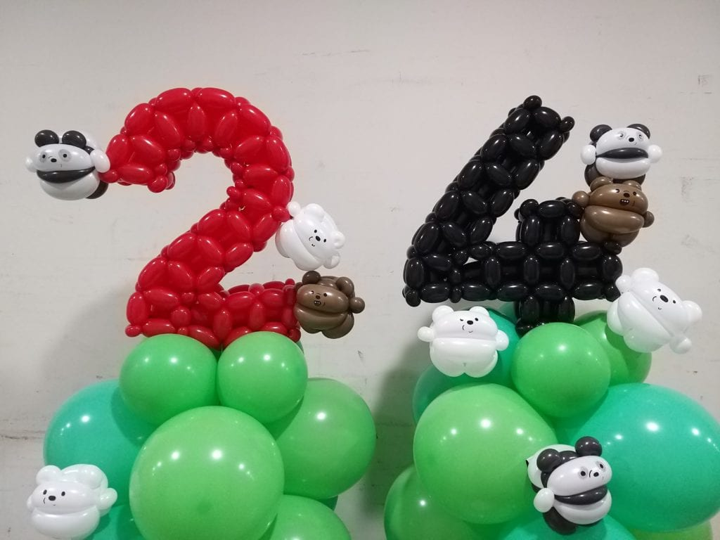We Bare Bear Balloon Decoration for 21st Birthday Party