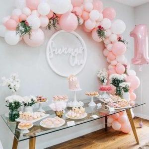 Organic Garland Balloon Pink And White