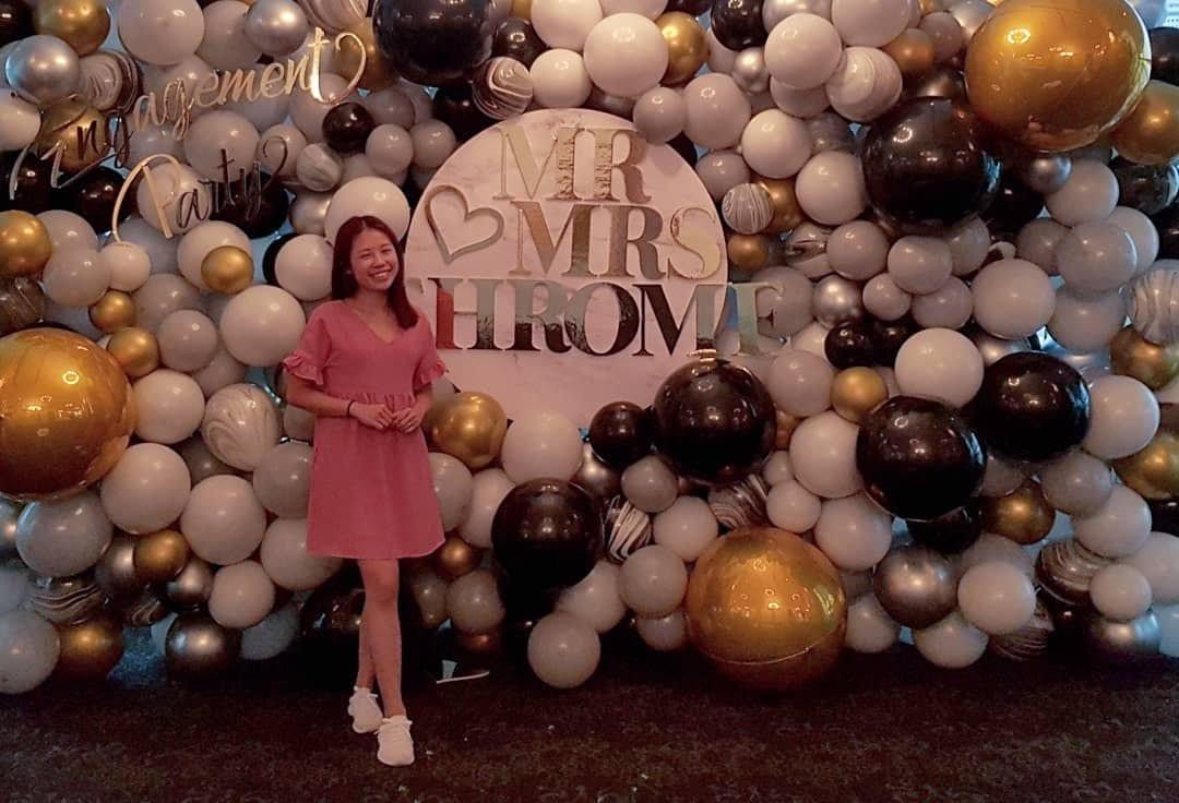 Full organic elegant balloon backdrop for engagement party