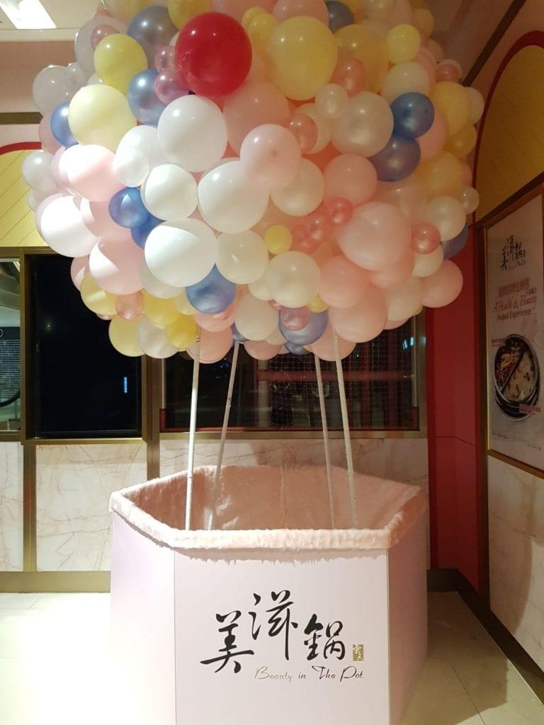 Organic Hot Air Balloon, Balloon Display for Beauty In A Pot Singapore
